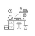 workspace line concept - outline workplace vector image vector image
