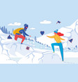 young loving couple hiking in winter mountains vector image vector image
