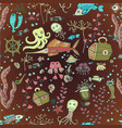children doodle fish sea pattern vector image