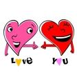 Two Loving cartoon hearts vector image