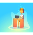 Woman operator with headset at call center vector image