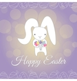 Cute white Easter Bunny spring flower vector image