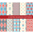 10 retro different seamless patterns vector image vector image