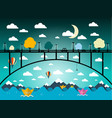 abstract flat design landscape with bridge and vector image