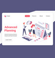 advanced planning landing page template vector image vector image