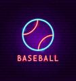 baseball neon label vector image vector image