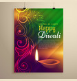 beautiful diwali flyer template with diya and vector image