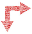bifurcation arrow right down fabric textured icon vector image vector image