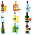 big set of different bottles of alcohol drinks vector image vector image