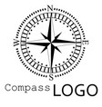 black and white compass logo icon rose of vector image vector image