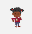 black girl with a unicorn pullover with funny vector image