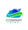 blue cloud computing logo cloud info emblems vector image