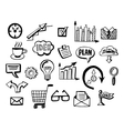 Business doodles icons set vector image