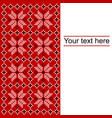 card with ethnic ornament design in whitered and vector image vector image