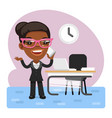 cartoon businesswoman talking on phone vector image vector image