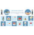 catering service web page flat template vector image vector image
