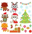 Cats in Christmas costumes vector image vector image