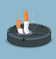 cigarette in ashtray with smoking product vector image vector image