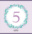 cute wedding table number card template with hand vector image vector image