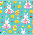 easter bunny chick and flower egg pattern vector image vector image