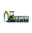 excavator drill logo vector image vector image