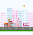 fast food and donuts buildings town view pink vector image vector image