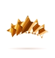 Five glossy bronze rating stars with shadow on vector image vector image