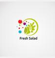 fresh salad logo with circle green and digital vector image vector image