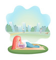 girl reading book in city park vector image vector image