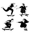 girls skateboarding silhouettes vector image