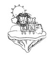 grunge happy couple lion in the float island vector image vector image