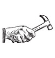 hammer holding a hand vintage engraving vector image
