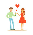 handsome man giving rose to his beautiful vector image vector image