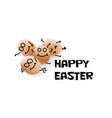 happy easter cartoon eggs vector image vector image