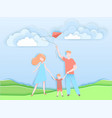happy family walking in a park with kid vector image