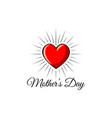 happy mothers day red heart icon in beams vector image vector image
