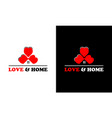 home concept on love logo design template vector image vector image