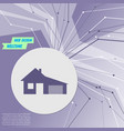house with garage icon on purple abstract modern vector image
