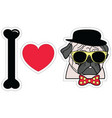 I love pugs hipster with tie bow with dots vector image vector image
