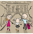 Mom and Dad are my daughter to school vector image vector image