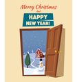 open door winter landscape cartoon vector image