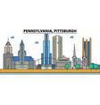 pennsylvania pittsburghcity skyline architecture vector image vector image