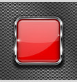 red glass 3d button with metal frame on perforated vector image vector image