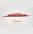rzeszow skyline in red vector image vector image