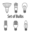 set different types bulbs vector image