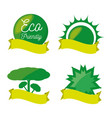 set green icon and ribbon for planet conservation vector image