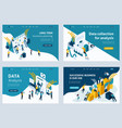 set landing page for business solutions vector image