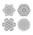 set of ethnic fractal mandala tattoo design looks vector image vector image