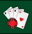 set of simple playing cards with casino chips on vector image