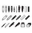set pencil and pen icons vector image vector image